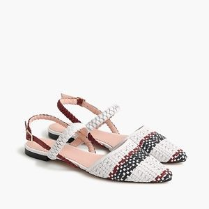 J.Crew White Pointed Toe Woven Ankle Strap Flats